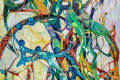 """5. """"Das Geflecht"""", Öl auf Leinwand, 100 x 70cm, 2018"""